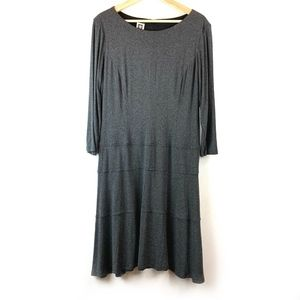 Anne Klein Jersey Knit Longe Sleeve Dress Plus